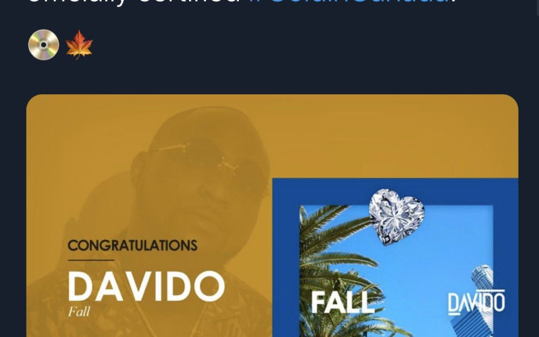 """Davido's song """"Fall"""" breaks record and becomes Gold!"""